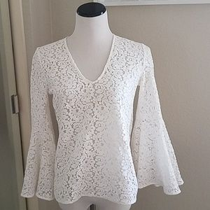 Zara lace blouse with bell sleeves